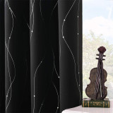 Blackout Curtain Microfiber Noise Reducing Thermal Insulated Wave Line with Dots Foil Print Design Blackout Curtain by NICETOWN ( 2 Panel )