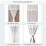 Tricia Door Curtains Set 2 Layers Sheer Curtain Attached on Blackout Panel Room Darkening French Door Window Treatment