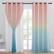 Custom 2 Layers Ombre Thermal Insulated 100% Blackout Sheer Curtains Window Drapes For Bedroom & Living Room