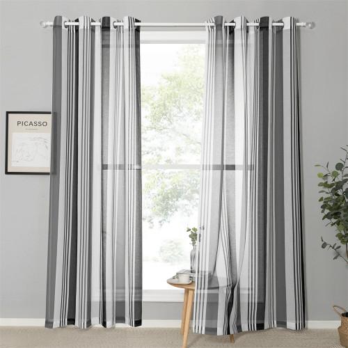 Custom Stripe Printed Voile Semi Sheer Curtain for Living Room by NICETOWN ( 1 Panel )