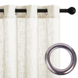 Custom Farmhouse White Curtain Long with Shabby Chic Ruffle Trim Soft Silky Opaque Panel for Bathroom Shower Curtain by NICETOWN ( 1 Panel )