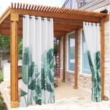 Custom Waterproof White Outdoor Curtain Tropical Leaves Pattern Indoor Outdoor Curtains Decor Privacy Protect for Patio Balcony Pavilion Cabana by NICETOWN ( 1 Panel )