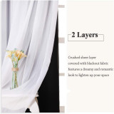 Custom 2 Layers Mix & Match Elegance Gauze & Crushed Sheer Drape Blackout Curtain Panel with Rope-Bedroom Curtain by NICETOWN ( 1 Panel )