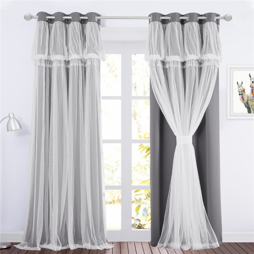 Custom 2 Layers Embroidered Lace & Creative Crushed Sheer Drape Blackout Curtain Panel by NICETOWN (1 Panel)