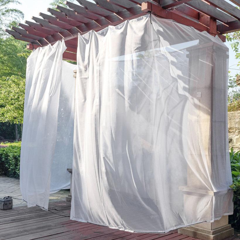 Custom Heavy-Duty White Mosquito Netting Waterproof Outdoor Sheer Curtain by NICETOWN ( 1 Panel )