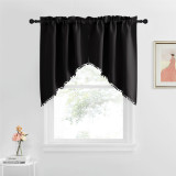 Custom Blackout Pole Pocket Kitchen Tier Curtains Panel Tailored Scalloped Window Valance Ball by NICETOWN