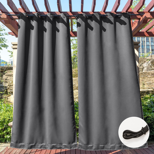 Custom Stainless Steel Grommet&Back Tab Outdoor Curtain with Ropes Fixed Dual Purpose Waterproof Windproof Block UV Blackout Drape for Patio / Foyer / Arbor by NICETOWN ( 1 Panel )
