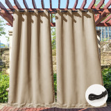 Custom Grommet&Back Tab Outdoor Curtain with Ropes Fixed Dual Purpose Waterproof Windproof Block UV Blackout Drape for Patio / Foyer / Arbor by NICETOWN ( 1 Panel )