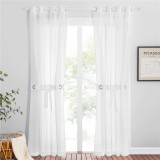 Custom Sheer Faux Linen Semitransparent Curtain for Patio Sliding Glass Door by NICETOWN ( 1 Panel )