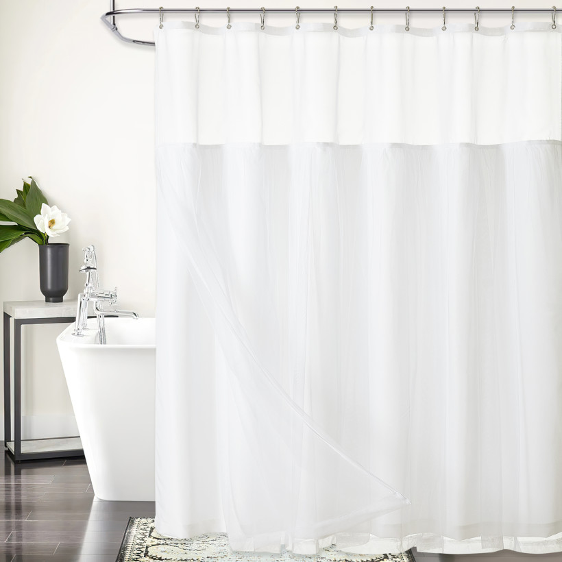 Splicing Double Sheer Creative Shower Curtain by NICETOWN (1 Panel)
