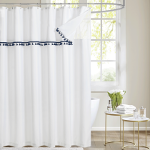 Splicing Double Sheer Creative 3 in 1 Shower Curtain by NICETOWN (1 Panel)