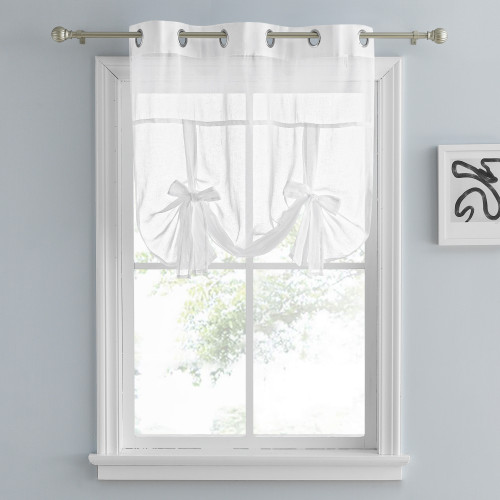 Custom Tie Up Shade Sheer Curtain-Linen Textured Sheer Window Valance by NICETOWN ( 1 Panel )