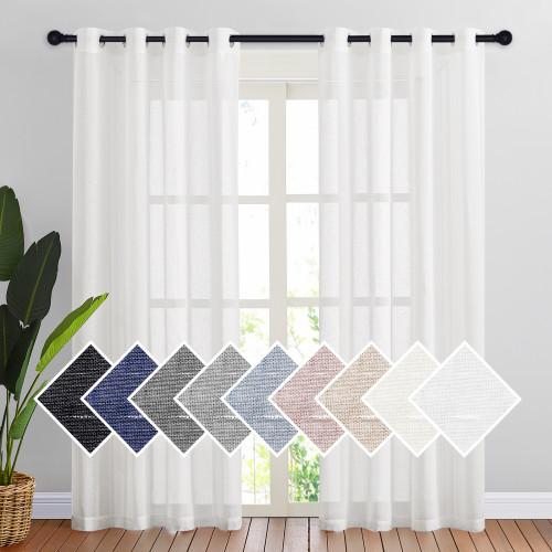 Custom Semi Sheer Curtain Semi-Linen Sheer Textured Sheer Curtain for Bedroom by NICETOWN ( 1 Panel )