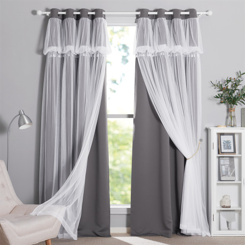 Custom Double-Layered Curtains with Tie-Backs Sheer Drapes Valance by NICETOWN (1 Panel)