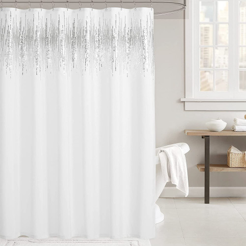 Sequin Shower Curtains Waterproof Machine Washable Hotel Spa Outdoor Shower Bathtubs Toilet by NICETOWN (1 Panel)