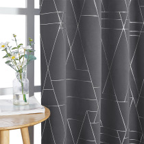Custom Foil Printed Geometric Lines Home Decoration Thermal Insulated Blackout Drapes by NICETOWN ( 1 Panel )
