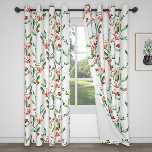 Custom Room Darkening Flower Branch Pattern Curtains by NICETOWN ( 1 Panel )