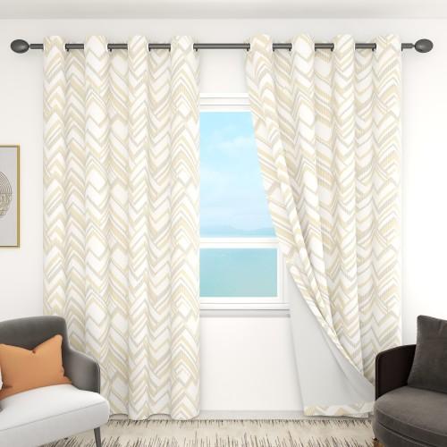 Custom Triangle Line Pattern Room Darkening Curtains by NICETOWN ( 1 Panel )