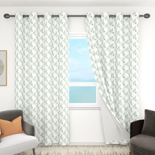 Custom Green Rhombus Pattern Room Darkening Curtains by NICETOWN ( 1 Panel )