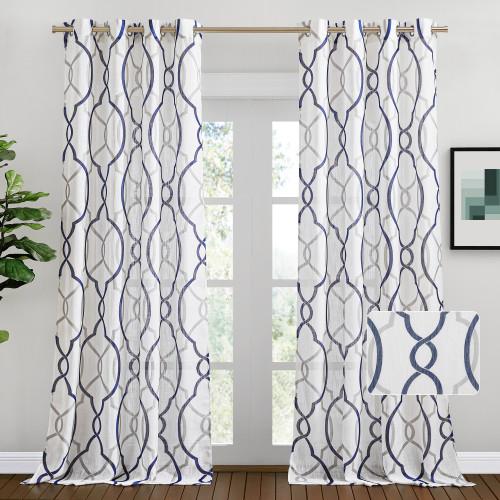 Custom Faxu Linen Sheer Curtain Semi Sheer White Drape Privacy by NICETOWN ( 1 Panel )