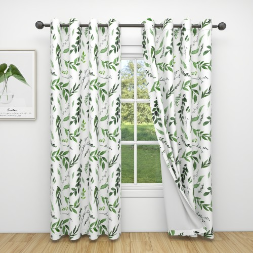 Custom Room Darkening Green Branches Pattern Curtains by NICETOWN ( 1 Panel )