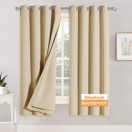 Custom 3 Layers Soundproof Thermal Insulated Curtains 100% Blackout Drape 1 Panel