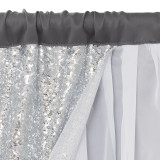 Custom Shiny Backdrop with White Sheer, Sparkly Silver Sequin, 3 Layers Fabric for Party Birthdays / Anniversaries / Wedding by NICETOWN (1 Panel)