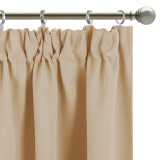 Custom Blackout Kitchen Tier Curtains Panel Tailored Scalloped Window Valance Ball by NICETOWN