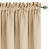 Custom Solid Blackout Curtain Thermal Insulated Energy Drapes with Pompoms for Living Room Customized Services by NICETOWN ( 1 Panel )