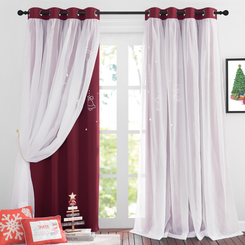 Custom Twinkle Bells and Moon Hollow-Out Blackout Curtains for Christmas ,2 Layer Window Treatment Curtain Panels by NICETOWN (1 Panel)