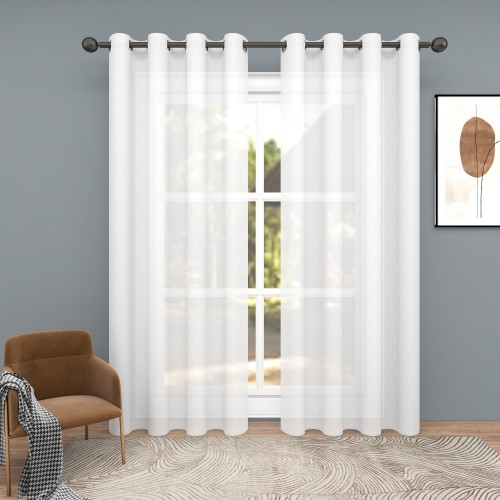 Custom Sheer Faux Linen Curtain for Patio Sliding Glass Door by NICETOWN ( 1 Panel )