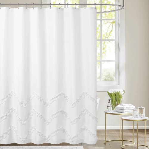 NICETOWN Custom Thicken Shower Curtain for Bathroom Waterproof with Lace