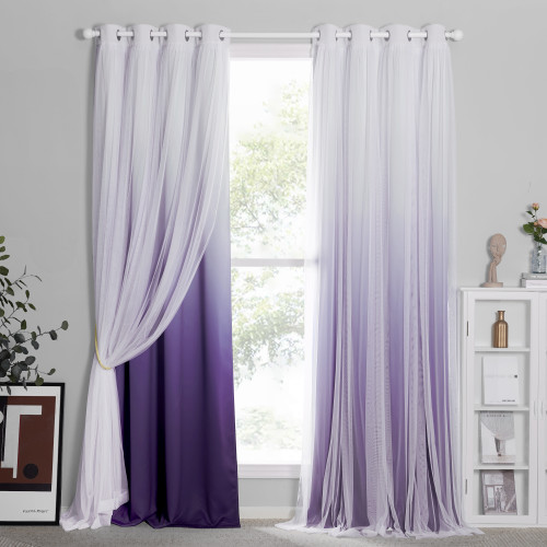 Custom 2 Layers Mix & Match Elegance Gauze & Sheer Drape Ombre Blackout Curtain by NICETOWN ( 1 Panel )