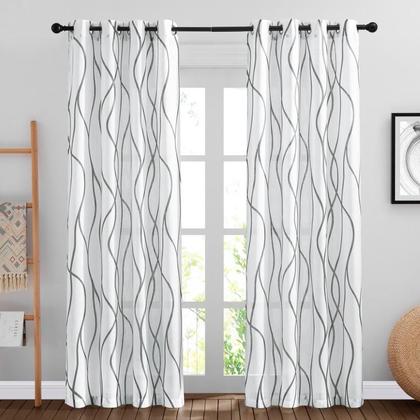 Custom Faxu Linen Sheer Curtain Monochromatic Curve Printed Drape by NICETOWN ( 1 Panel )
