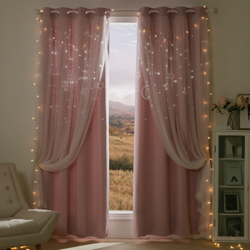 Custom NICETOWN Twinkle Stars and Moon Hollow-Out Blackout Curtains for Kid's Room / Nursery,2 Layer Window Treatment Curtain Panels by NICETOWN (1 Panel)
