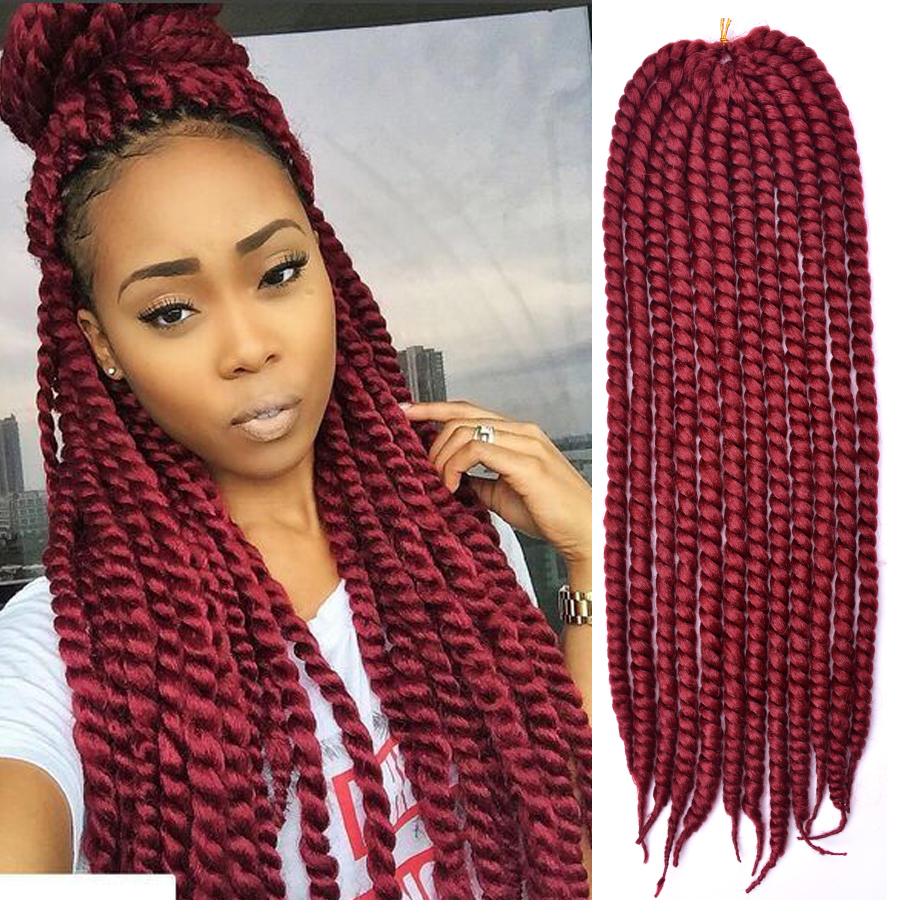 dairess 24 inches 12roots long havana mambo twist hair crochet braids ombre  crochet twist hair synthetic hair extensions #burgundy