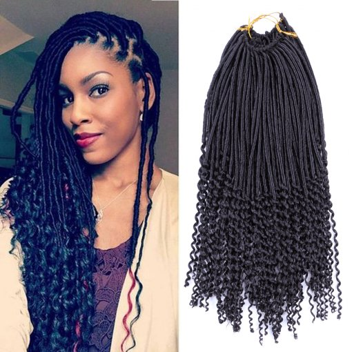 Dairess 20inch 24roots Curly Dess Dreadlocks Faux Locs Crochet Hair Wavy With Ends