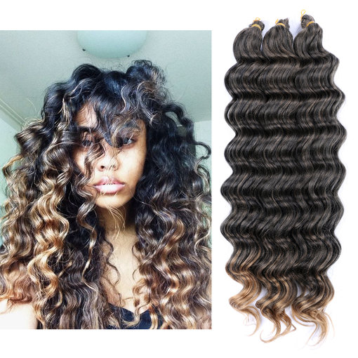 Dairess 22 Inches Deep Wave Crochet Bulk Hair Weft Braids Synthetic Extensions 1b
