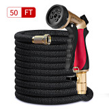 Moer Sky 50ft Garden Hose Upgraded Expandable Hose Double Latex Core, 3/4 Solid Brass Connector, 7 Function Metal Spray Nozzle, Lightweight Durable Outdoor Gardening Flexible Hose Yard