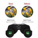10x25 Compact Pocket Folding Binoculars for Adults Kids, Low Light Night Vision High Powered Lightweight Waterproof HD Professional Mini Binocular Telescope for Outdoor Hunting, Bird Watching, Travel