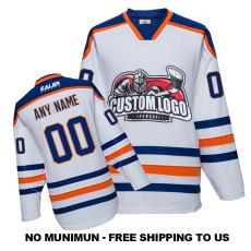 EC-E051 Custom Your Hockey Jerseys (Any Logo Any Number Any Name) White