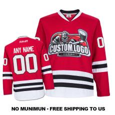 EC-E022 Custom Your Hockey Jerseys (Any Logo Any Number Any Name) Red