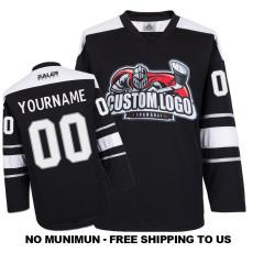 EC-E062 Custom Your Hockey Jerseys (Any Logo Any Number Any Name) Black