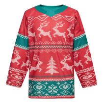Christmas sublimation practice hockey jersey jacket, elk and snow for men