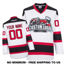 EC-E072 Custom Your Hockey Jerseys (Any Logo Any Number Any Name) White