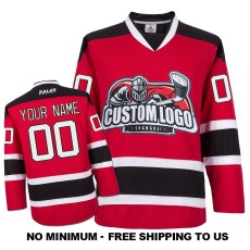 EC-E071 Custom Your Hockey Jerseys (Any Logo Any Number Any Name) Red