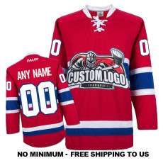 EC-E067 Custom Your Hockey Jerseys (Any Logo Any Number Any Name) Red
