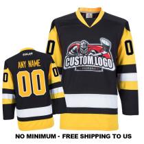 EC-E005 Custom Your Hockey Jerseys (Any Logo Any Number Any Name) Black