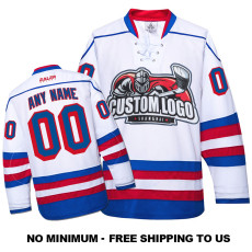 EC-E035 Custom Your Hockey Jerseys (Any Logo Any Number Any Name) White