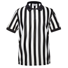 EALER ERJ100 Series Men's Official Pro-Style Collared Black & White Stripe Referee / Umpire Jersey, Great for Basketball, Volleyball, Football, & Soccer